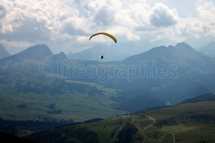 Paragliding on alps