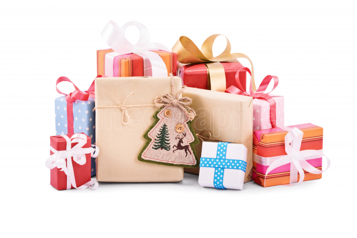 Pile of christmas gifts on white background