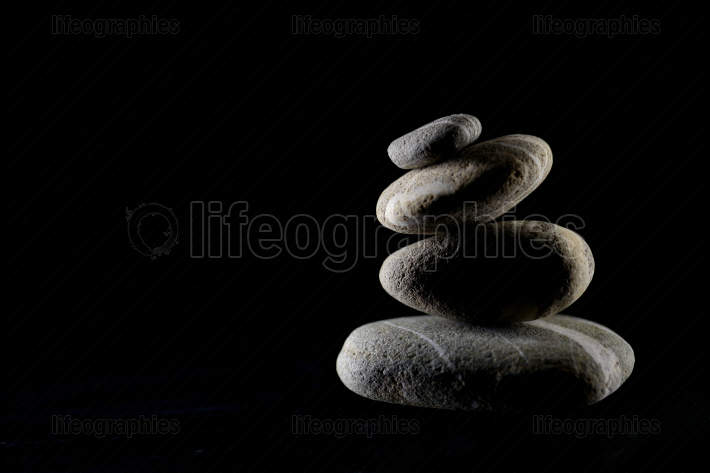 Pile of pebble stones isolated