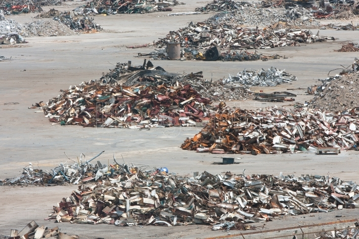 Piles Of Twisted Metal And Debris Litter A Demolition Site