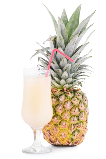Pineapple and a glass of juice