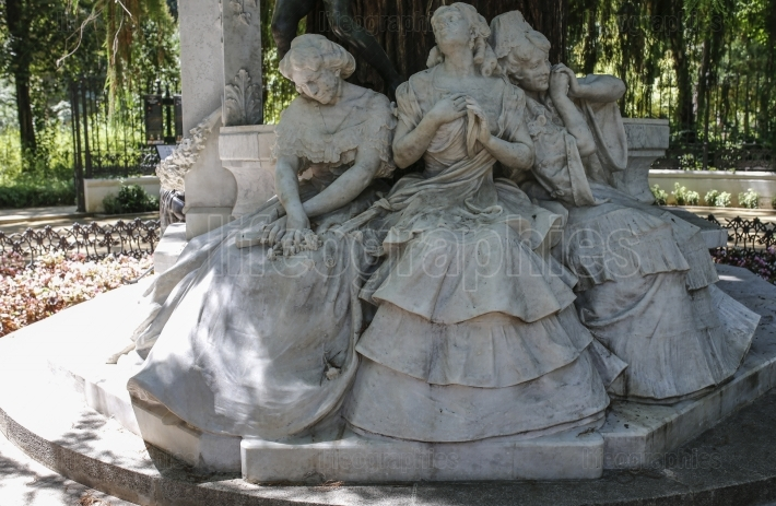 Poet Gustavo A  Becquer Sculptorical Group at Seville Maria Luis