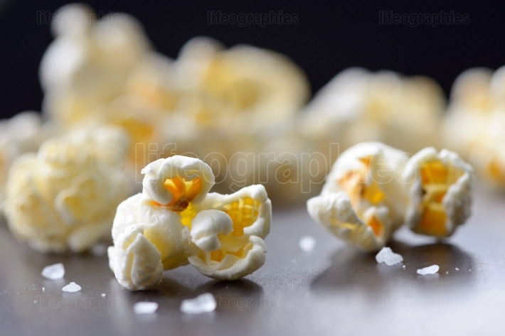Popcorn isolated on black background