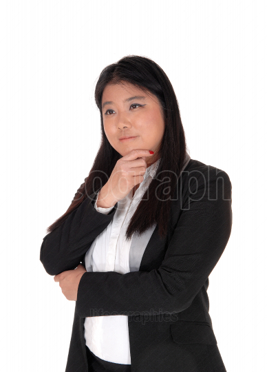 Portrait image of a Chinese woman thinking hard