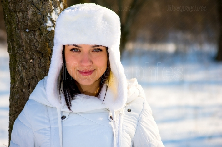 Portrait of a beautiful girl in winter time