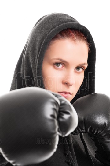 Portrait of a young female boxer