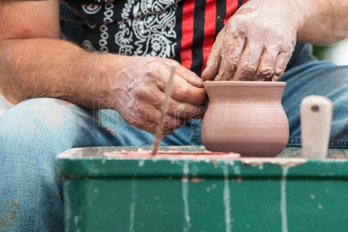Pottery Artist Hands Form Clay Bowl At Lawrenceville Arts Fest