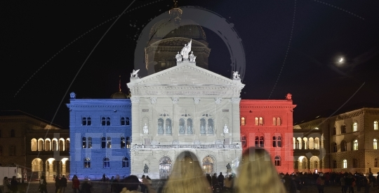 Projection French flag on Bundesplatz. The wave of solidarity for the victims in Paris. Bern