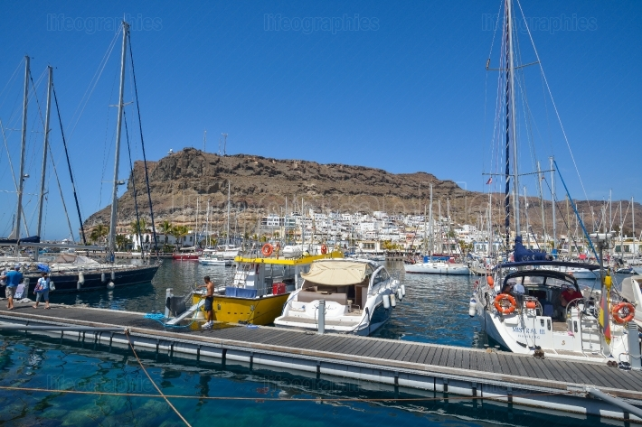 Puerto de Mogan harbor in Gran Canaria Spain