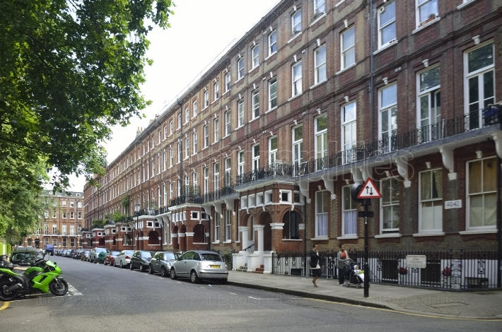Red bricks houses near Palace of Westminster in London, english architecture