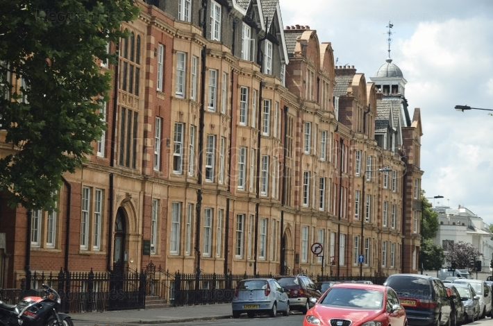 Red bricks houses on street of London, english architecture