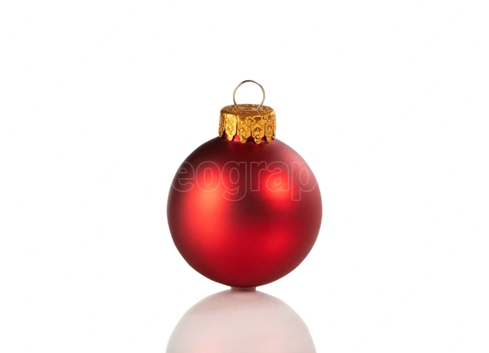 Red Christmas ball ornament isolated on a white background