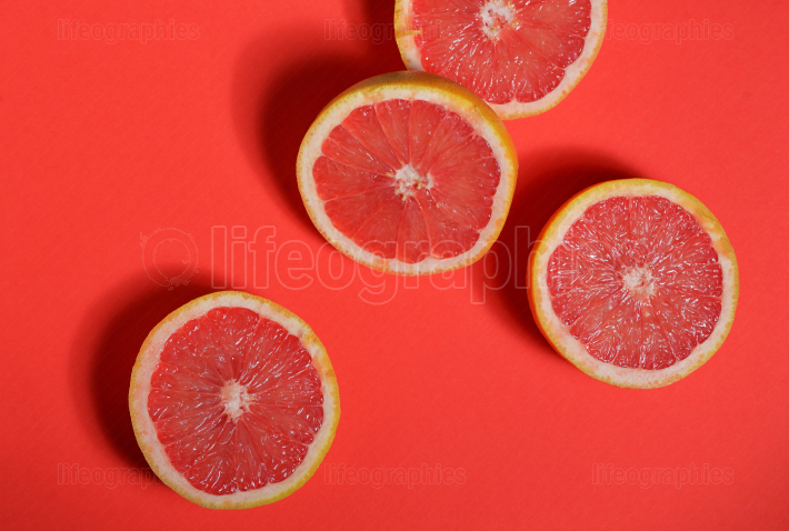 Red grapefruit halves
