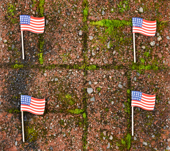 Red grunge brick with and United States flags for border wall pr