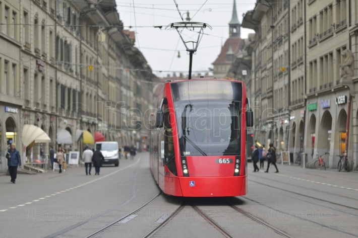 Red tram in Bern