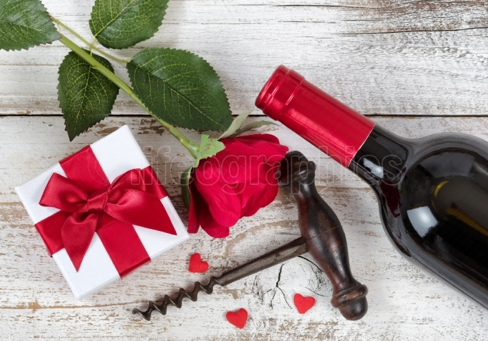 Red wine and gift for Valentines Day