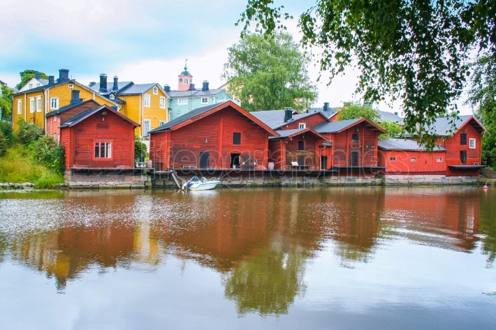 Red wooden houses of Porvoo, Finland