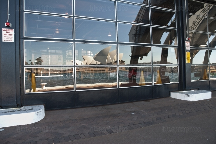 Reflection of the Opera house in terminal windows