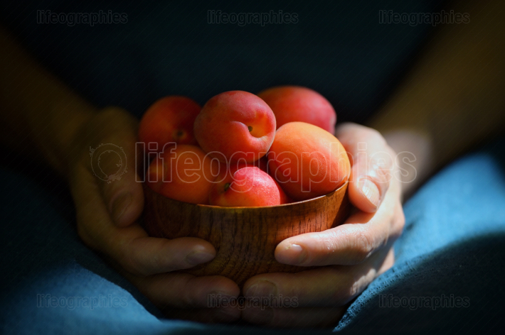 Ripe organic apricots in bowl