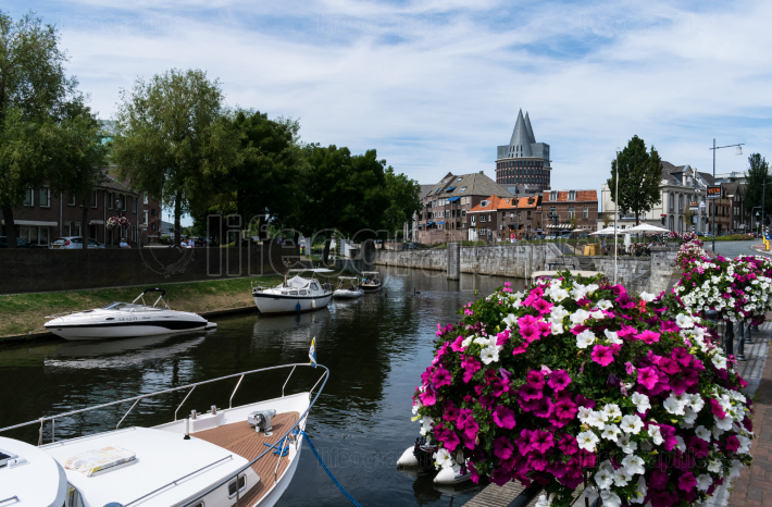 ROERMOND, LIMBURG, NETHERLANDS JUNE 27, 2019 View to the Natalini Tower  and Roer river