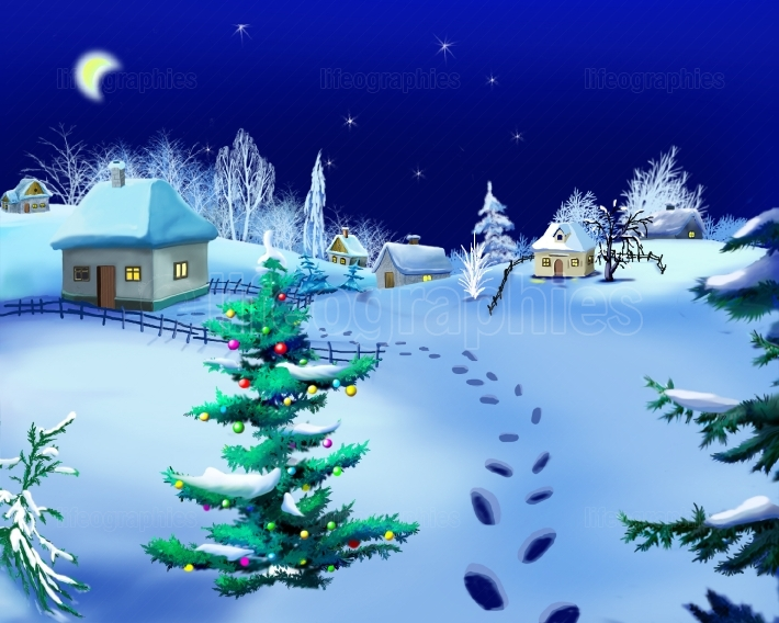 Romantic Winter Night at New Year s Eve  on the Background  Rura
