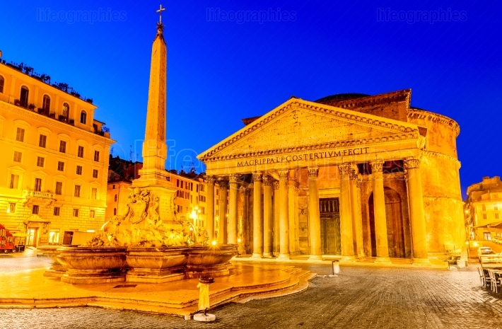 Rome, Italy - Pantheon in the night