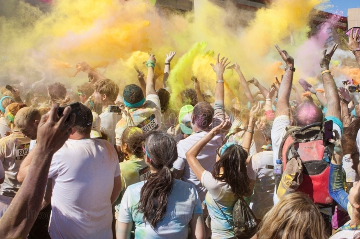 Runners Create Color Explosion With Multicolored Corn Starch Pac