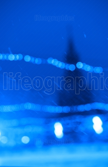 Russian winter with intense snow on Red Square bokeh background