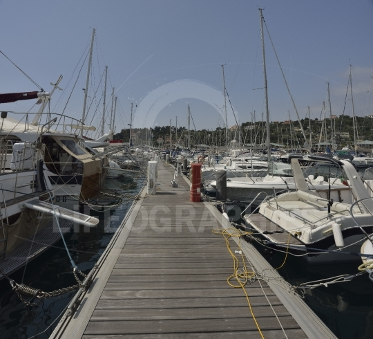 Sailboats in Marina harbour in Varazze, Italy.