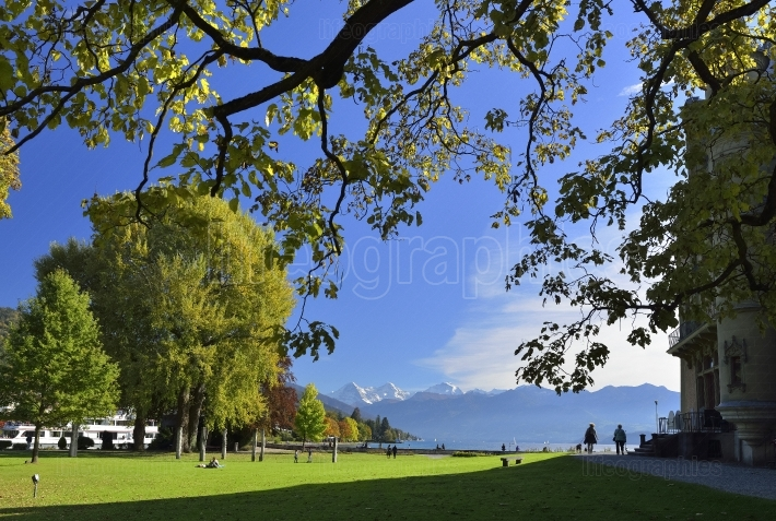 Schloss schadau and garden around, thun, switzerland