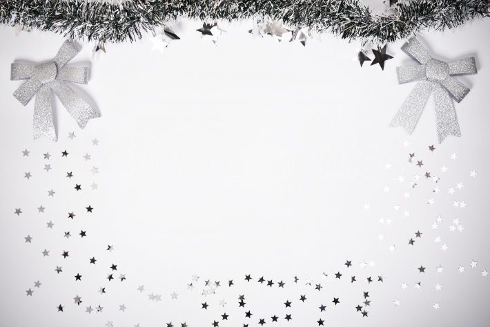 Seasonal composition with garland and stars