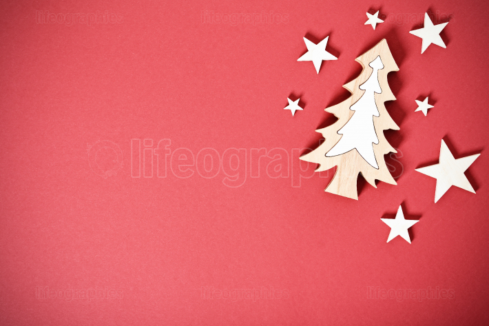 Seasonal greeting card concept with Christmas tree and stars