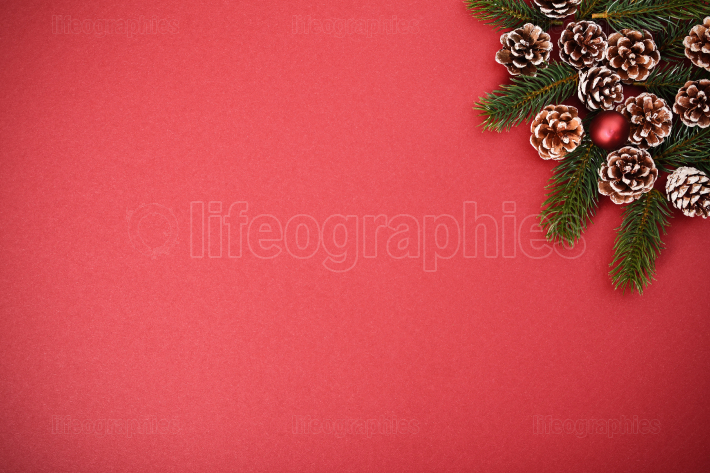 Seasonal greeting card concept with pinecones and evergreen bran