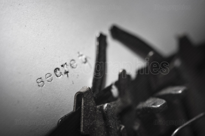 SECRET typed words on a Vintage Typewriter