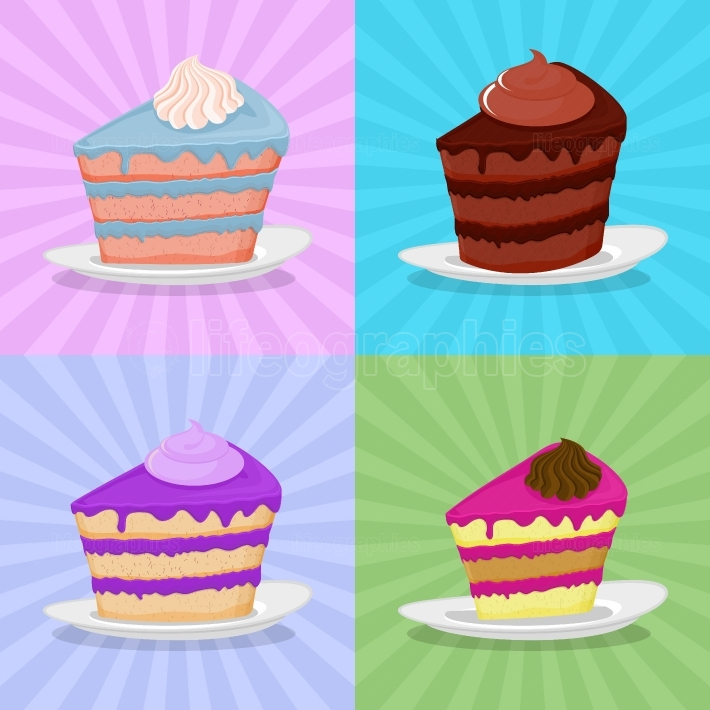 Set a piece of cake on a plate  Cake on a bright background  Str