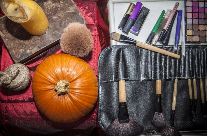 Set of brushes for makeup  with halloween objects