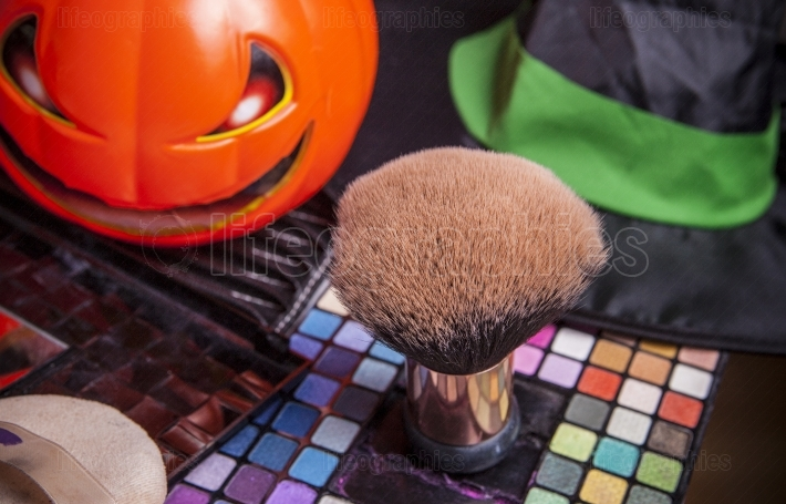 Set of brushes for makeup  with pumpkin
