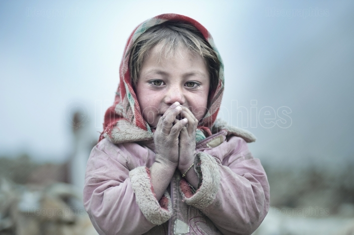 Shaina. Young girl living with her grandmother in upper Shimshal.