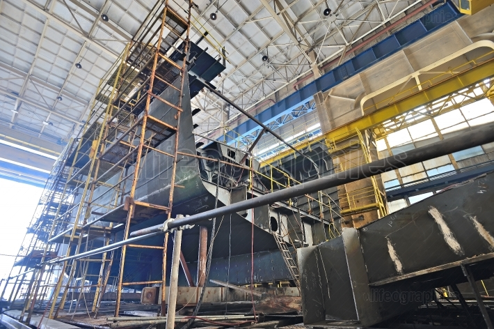 Ship building  inside of shipyard