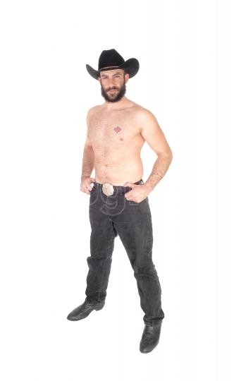 Shirtless man with a cowboy hat, in full length