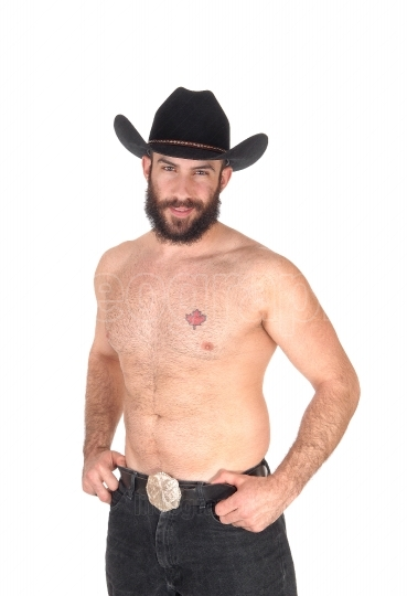 Shirtless man with a cowboy hat, looking at the camera