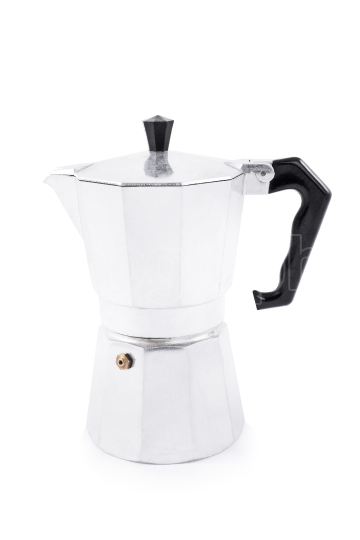 Side view of a metallic moka maker