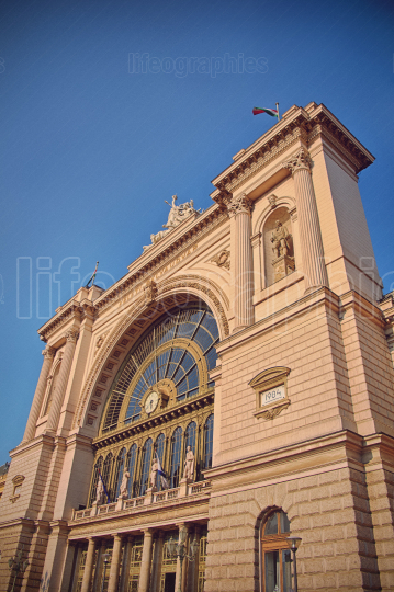Side view of Keleti Railway Station in Budapest