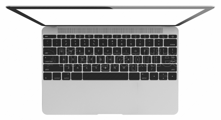 Silver Laptop with blank white screen