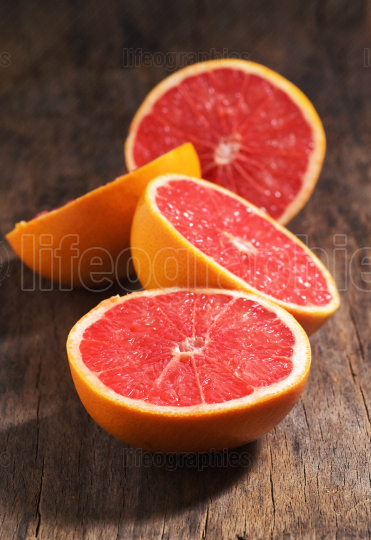 Sliced Red Ripe Grapefruits