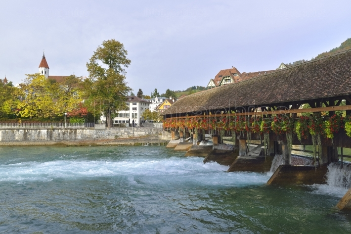 Sluice bridge in thun, switzerland. aare river.