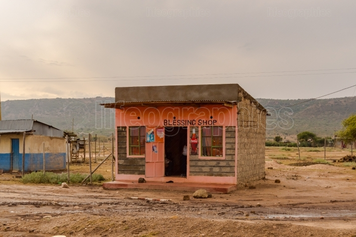 Small block stall in pink concrete in Kenya s rift valley