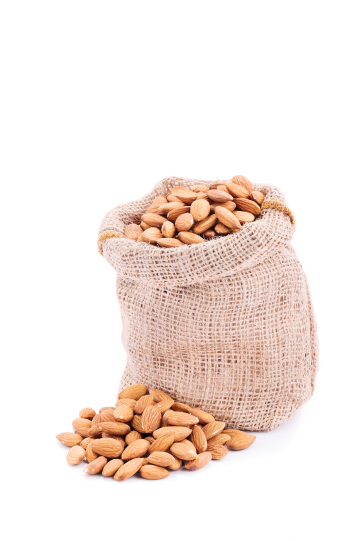 Small sack of fresh almonds