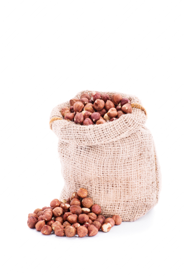 Small sack of fresh hazelnuts