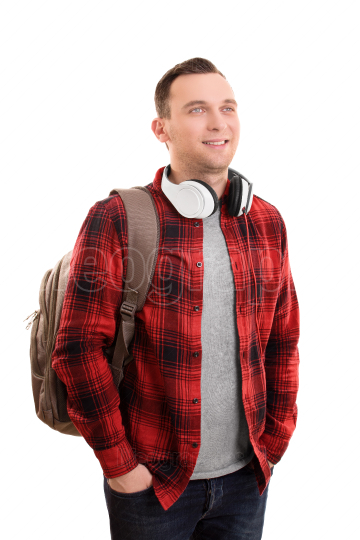 Smiling male student with headphones